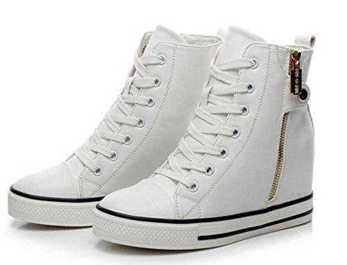 Wealsex hoch-Spitze sneaker Wedges Sportschuhe damen Schuhe Sneakers Weiß