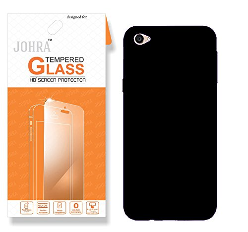 Vivo Y55L Back Cover, Real HD+ Tempered Glass Combo Hard Plastic Black Rubberised Back Cover for Vivo Y55L Tempered Glass