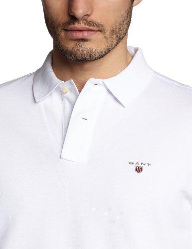 GANT Herren Poloshirt SOLID PIQUE SS RUGGER Weiß (WHITE 110)