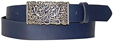 FRONHOFER Women's genuine leather belt, beautiful floral silver buckle, 1.2'/3cm, Size:waist size 50 IN XXXL EU 125 cm, Color:Marine