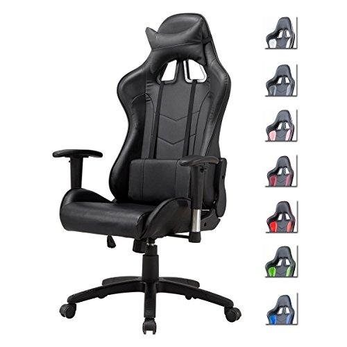 Delman Racing Bürostuhl Gaming Chair Schreibtischstuhl Drehstuhl Sportsitz Ergonomischer PU Leder Höhenverstellbar mit Armlehnen 02-1004 (Schwarz)