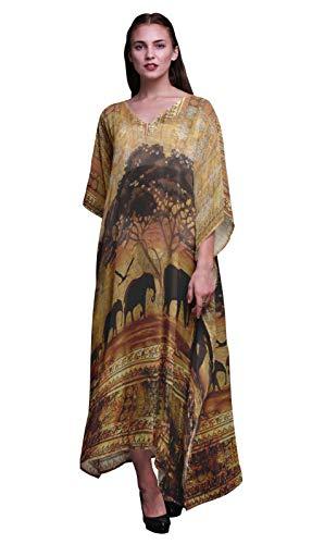 Phagun Elefant Dschungel Damen Plus Größe Kaftan Sommer tragen Strand Coverup Kimono Kaftan-4X-5X -