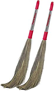 CHAND SURAJ® Pack of 2 Strong Grass Broom Stick for Cleaning Floor (Strong, Multicolor))