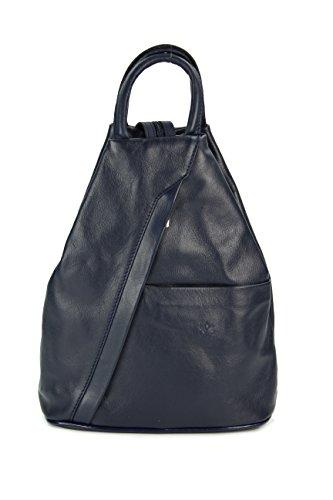 Belli 'City Backpack leichte ital. Leder Rucksack Handtasche - Farbauswahl - 29x32x11 cm (B x H x T) (Dunkelblau)