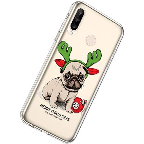 Herbests Kompatibel mit Huawei P30 Lite Weihnachten Hülle Christmas Transparent Weiche Silikon Hülle Schutzhülle Durchsichtig Rückschale Crystal Klar TPU Case Stoßfest Tasche,Hund