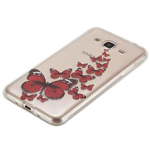 Custodia iPhone 7 Case Cover, Cozy Hut cover iPhone 7 (4,7 Zoll) silicone case ultra-thin bumper Skin - Slim custodia protettiva iPhone 7 (4,7 Zoll) caso crystal clear Shock-Absorption gel-back| Col farfalla rossa