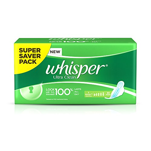Whisper Ultra Clean Sanitary Pads Large Wings - 30 Piece Pack