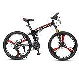 Dapang Full Suspension Folding Mountain Bike, Trail & Mountains, Nero, Telaio Full Suspension in Alluminio, Twist Shifters a 24 velocità,5,24speed