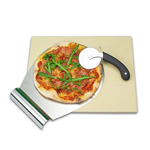 RADOLEO® Pizzastein L aus Cordierit - Premium Set mit Pizza-Roller & Pizzaschaufel | für Gas Grill & Back-Ofen | edle Verpackung | 38x30x1,3cm