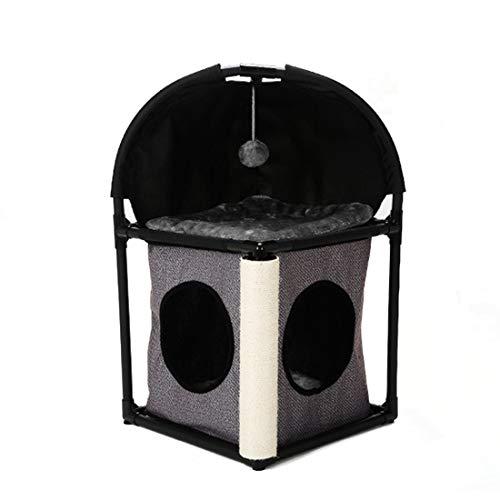 FELICIGG Katze-Haus-Bequeme Eigentumswohnung-Kätzchen-Tätigkeits-Turm-kletternder Rahmen-springende Plattform-abnehmbares Kombinations-Nest (Color : Gray) (Katze-häuser & Eigentumswohnungen)
