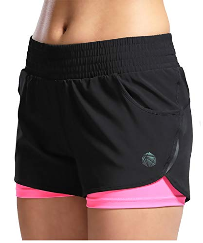 SILIK Womens Sports Gym Shorts Atmungsaktives Training Laufen Fitness Leggings Korallrot S -