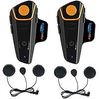 Fodsports BT-S2 Intercomunicador de Motocicleta Auricular Bluetooth Casco Sistemas de comunicación Kit Impermeable 1000M