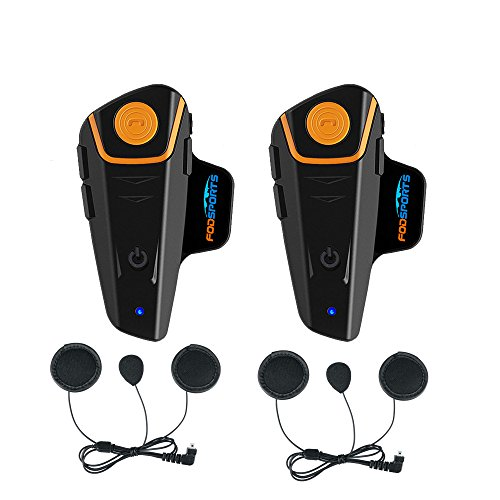 2 Stück x Fodsports BT-S2 1000m Motorrad Helm Intercom und Bluetooth Gegensprechanlage Walkie-Talkie (2pcs soft cable) - Bluetooth Headset Boom Mikrofon