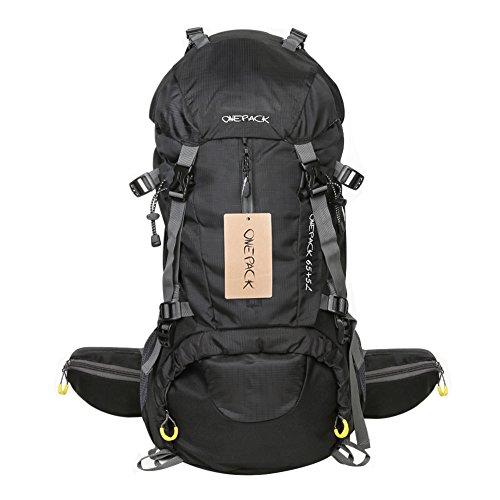 #Wasserdichter Rucksack mit 45L + 5L 65L + 5LFassungsvermögen aus strapazierfähigem Nylon mit Regenschutzhülle. Großer Trekkingrucksack, perfekt zum Wandern, Bergsteigen, Reisen und für Sport und Camping. (Schwarz)#