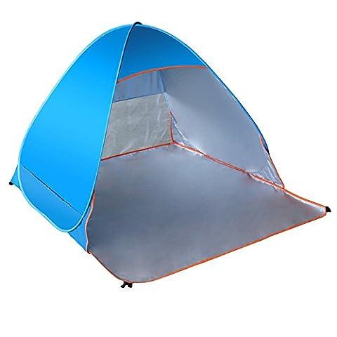 Lanlan Beach Camping Zelt 2Personen zusammenklappbar Strand Zelt Automatische Pop Up Zelte Outdoor Camping UV Sun Shade Shelter für Outdoor Strand Wandern Camping, blau
