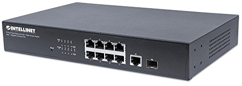 "Intellinet 8-Port Fast Ethernet PoE+ Web-Smart Switch mit Gigabit Combo-Port (8 x PoE-Ports - IEEE 802.3at/af Power-Over-Ethernet (PoE+/PoE) 1 x SFP/RJ45 Combo) Endspan 19"" Rackmount schwarz 561358"