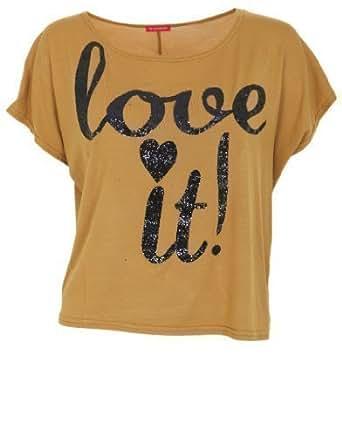 Ladies 'Love It' Crop Top, Mustard, ML 12-14