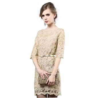 Amurleopard Damen Kleid Kurz mit Spitze 1/2 Arm ...