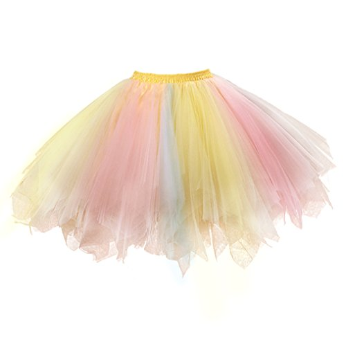 Retro Petticoat Tutu Damenrock Tüllrock 50er Kurz Ballet Tanzkleid Unterkleid Cosplay Crinoline Petticoat für Rockabilly Kleid A