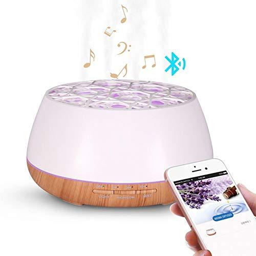 ALWIX 400ml Diffusore di olio essenziale di aromi ad ultrasuoni di grano di legno con altoparlante di musica senza fili Bluetooth timer Aromaterapia umidificatore d'aria BIANCO
