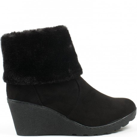 Ideal Shoes - Bottines compensées effet daim avec fourrure Meva Noir