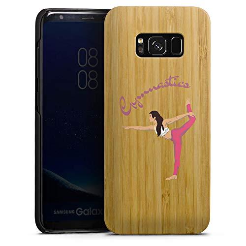 DeinDesign Holz Hülle kompatibel mit Samsung Galaxy S8 Wooden Case Echtholz Handyhülle Gymnastic ohne Hintergrund Hobby