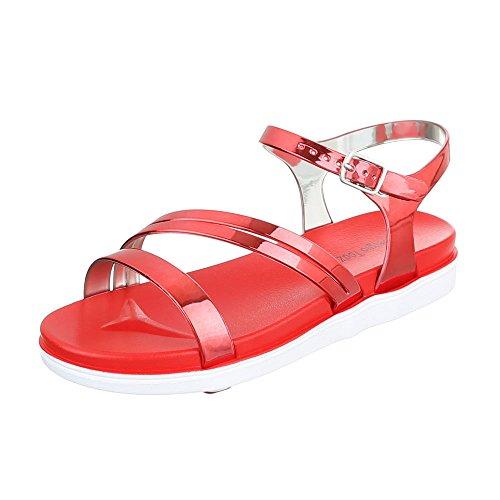 Riemchensandalen Damenschuhe Knöchelriemchen Riemchen Schnalle Ital-Design Sandalen / Sandaletten Rot