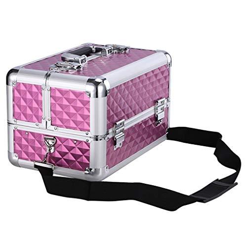 CML Home Conception Portable Boîte à Outils ménagers, Cadre en Aluminium Boîte à Outils 4 bacs de Maquillage cosmétiques Artiste Train Boîte de Rangement cosmétiques Boîte de Bijoux Solide et Robuste
