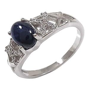 Banithani Stern-Saphir 925 Sterlingsilber-Ring für Frauen-Edelstein-Ring-Finger-Band Schmuck