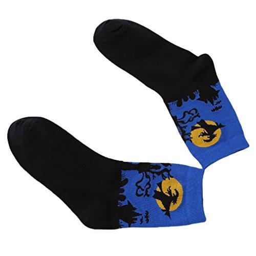 een-Thema Baumwolle Socken Sport Strümpfe Füßlinge für Damen und Herren (Blau) (Halloween-socken)