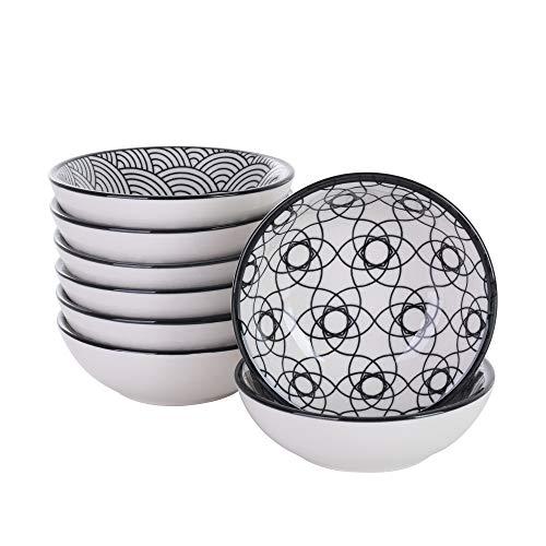 Vancasso Haruka 8 teilig Porzellan Dipschälchen, Snack Schälchen Set