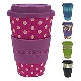 ebos Fortuna caffè-a-Go Tazze di bambù | Tazze di caffè, Tazze di Bevanda | degradabili nell'ambiente, riciclabile, Ecologico | Cibo Sicuro, Lavabile in lavastoviglie (Lady Dots)