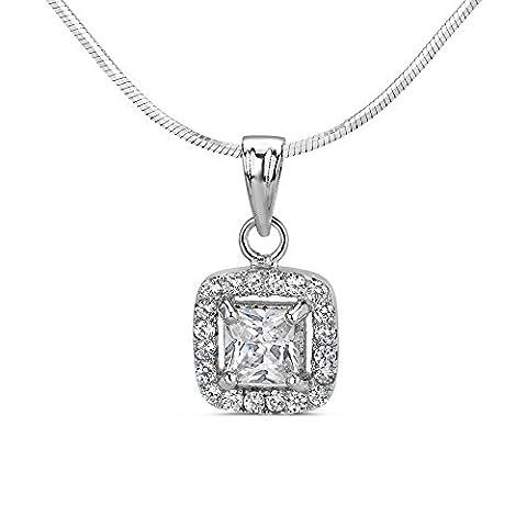 Silver Pendant Cubic Zirconia Square 925 Sterling Silver