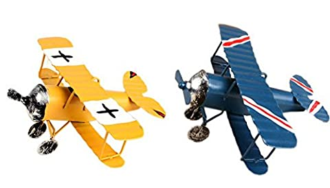Set of 2 Kids Room Collectible Figurines, Retro Metal Airplane Blue & Yellow