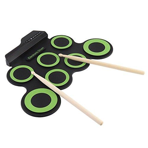 AIYIOUWEI Tragbare Elektronische Trommel, 7 Pads Roll up Drum Set/Silikon Electric Drum Pad Kit mit Drum Sticks Fußpedal,Black+Green,43 * 28 * 2.7Cm