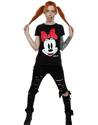 Disney Donna Minnie Mouse Distressed Face Maglietta Nero