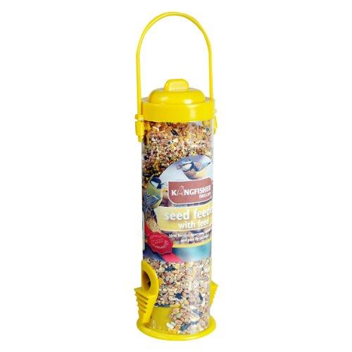 Kingfisher - Dispenser mangime per uccelli pensile in plastica con mangime incluso, giallo