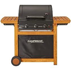 Campingaz Barbecue Gaz Adelaide 3 Woody L, 3 Brûleurs BBQ Gaz, Puissance 14kW, Grille et Plancha en Acier, 2 Tablettes Latérales