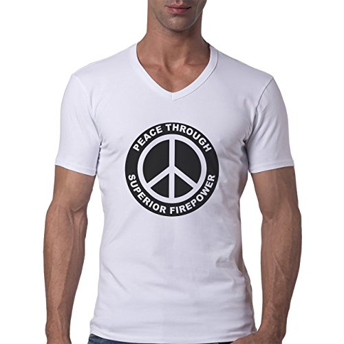 Peace Through Superior Firepower Black And White Logo Herren V-Neck T-Shirt Weiß