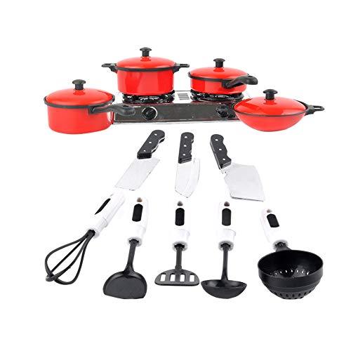 Beito Mini Küche Kinder Spielzeug für Kinder Kochen Pan Spielzeug Set Spielzeug Messer und Spiele Spielzeug Kitchen Utensil Simulation Küchenzubehör Set Red 1Set