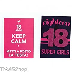 Idea Regalo - TrAdE shop Traesio® 2 BIGLIETTI AUGURI COMPLEANNO 18 ANNI FUCSIA CON BUSTA KEEP CALM SUPER GIRL