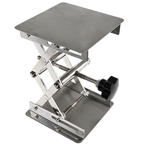 Edelstahl Laborständer Tisch Scherenlift, 4x 100mm -