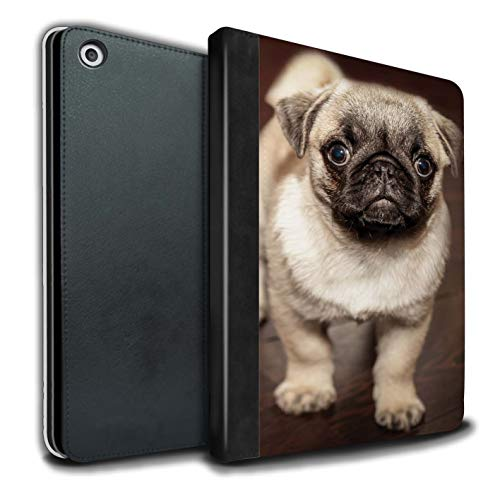 eSwish PU-Leder Hülle/Case/Brieftasche für Apple iPad 9.7 (2017) Tablet/Netter Mops Hund Hündchen Muster/Süß Baby Tier Fotos Kollektion - Mops-fotos