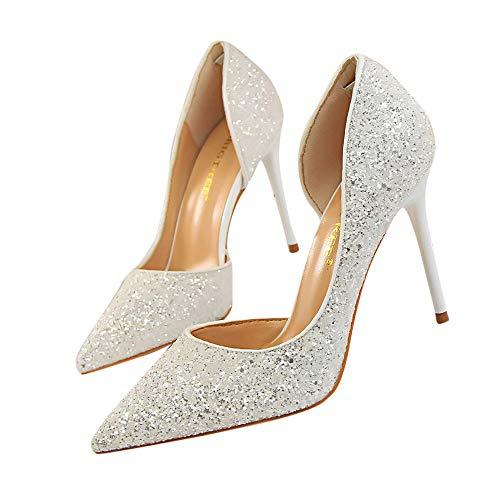 Beikoard-scarpa da Donna Estremamente Sexy Tacchi Alti Scarpe da Donna Scarpe con Tacchi Sottili Scarpe da Donna(Bianco,36)