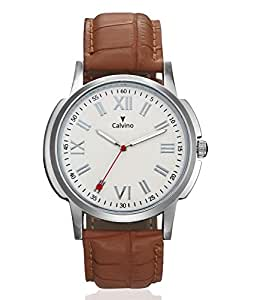 Calvino Sweat Proof Analogue White Dial Men's Watch-V2M_Cgas_1412118Rmn_Brownwhite