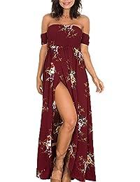 Femme Robe de plage Bohême Longue Floral Ete Sexy Bas Irrégulière Plissée Style Epaule nu Col Beatou