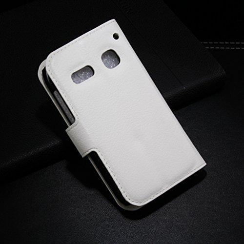 Manyip Téléphone Coque - PU Cuir rabat Wallet Housse [Porte-cartes] multi-Usage Case Coque pour Alcatel One Touch OT4033 pop C3 Classique Mode affaires Style(JFC1-7) E