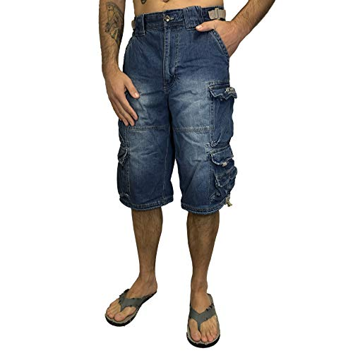 Jet Lag Short 007 S kurze 3/4 Hose Bermuda Short in olive beige schwarz Jeans blau, Jeans-blau, L -
