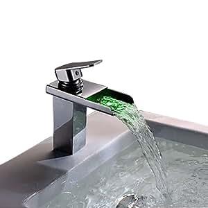 Unitary Wasserfallwasserhahn, mit Einzelgriff, verchromt, zeitgenössische Farbänderung durch LED-Licht