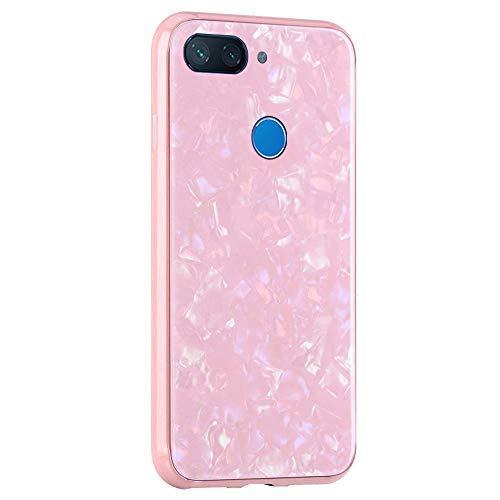 Caler ® Funda Compatible para Xiaomi Mi 8 Lite Carcasa Vidrio Templado Mármol Conchas Hermoso PC Case de Protectora Anti-Golpes Anti-Arañazos Cover Caso (Oro Rosa)